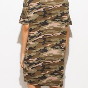 Dresses - Olive Green Army Camo Print Choker Cut Out Short S